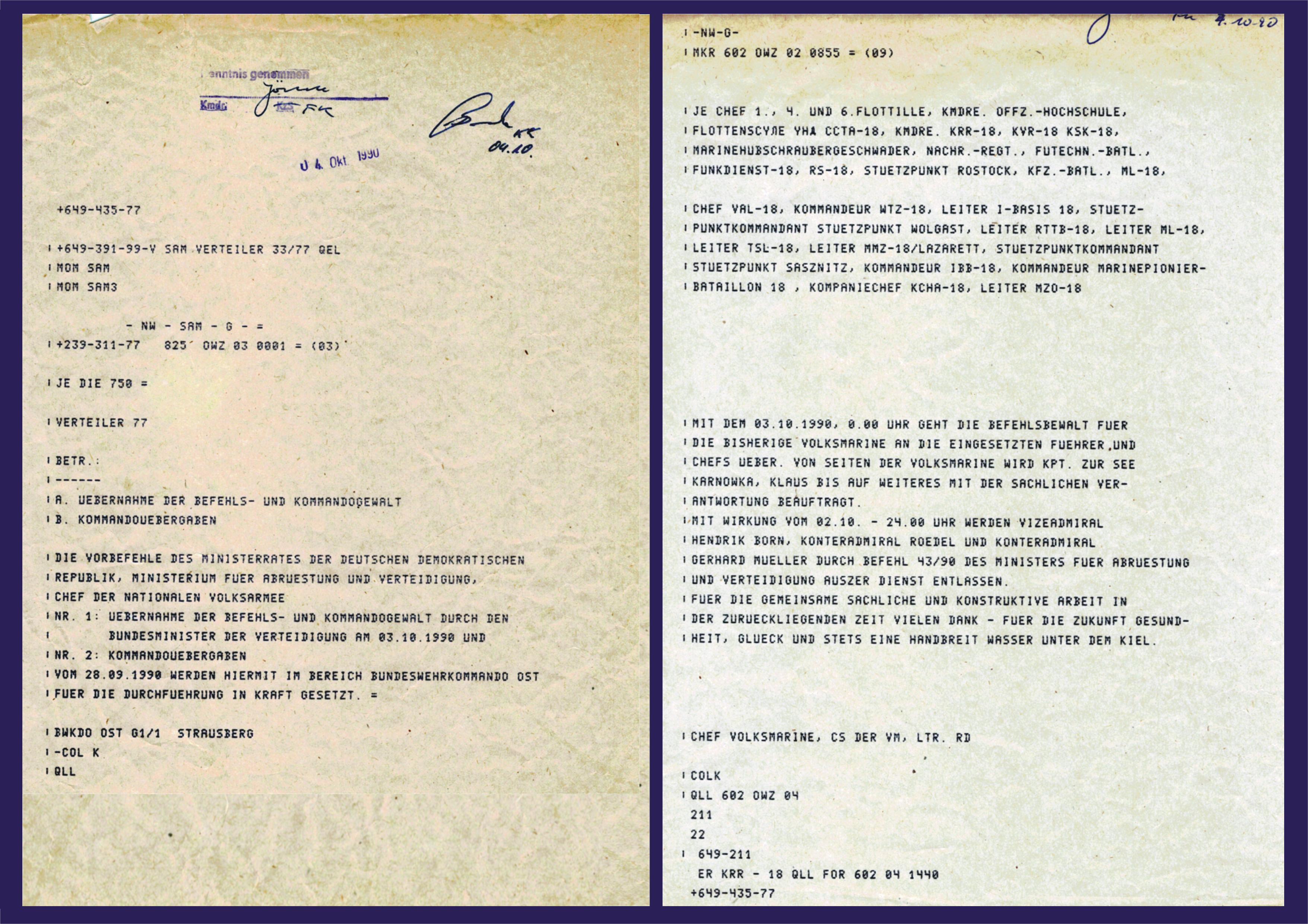 Funkspruch von Vizeadmiral Hendrik Born vom 02. Oktober 1990
