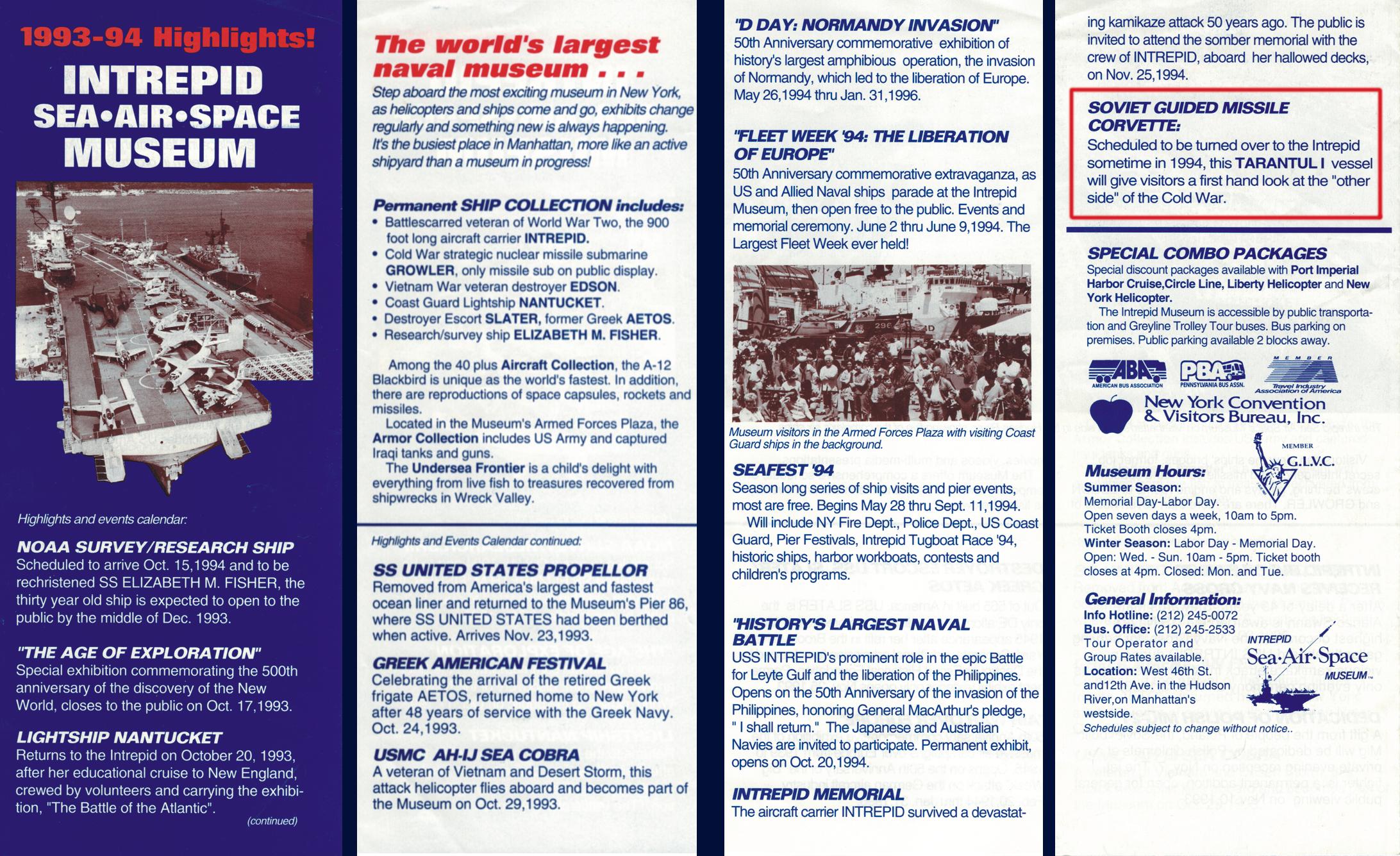 """Auszüge aus einem Flyer des """"Intrepid Sea-Air-Space"""" Museums in Fall River"""